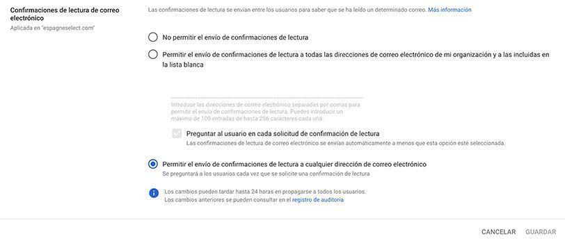 Confirmación lectura Gmail