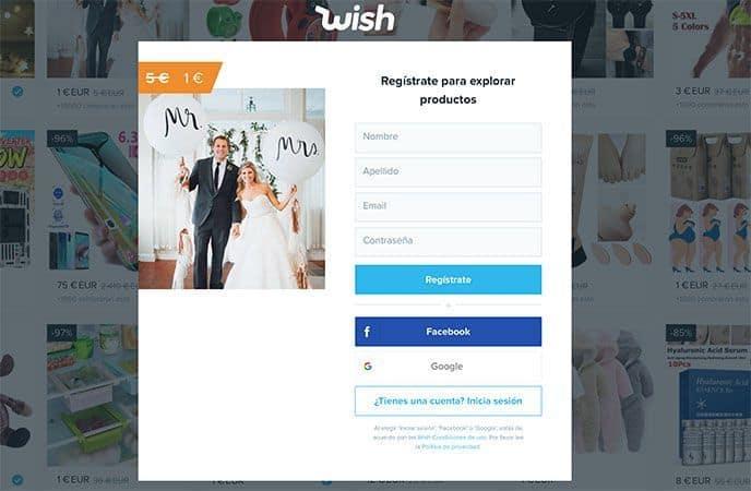 Wish sin registrarse